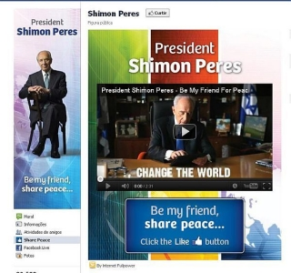 Shimon Peres 'compartilha a paz' no Facebook