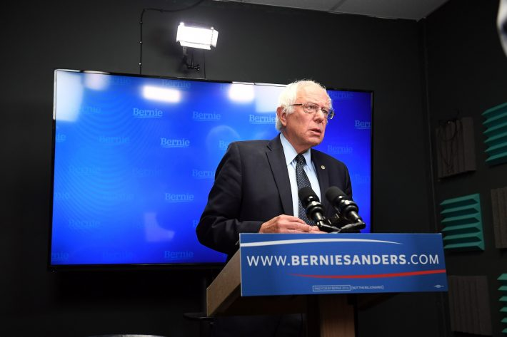 Presidential candidate, Bernie Sanders prepares to speak for a video to supporters at Polaris Mediaworks on Thursday June 16, 2016 in Burlington, VT. (Matt McClain/The Washington Post via AP, Pool)