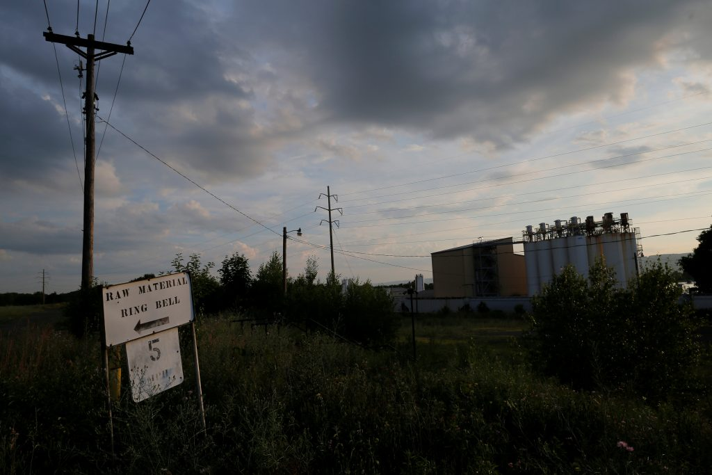 A sign stands on the site of a former manufacturing facility in Scranton, Pennsylvania, U.S. July 7, 2016, the day before a campaign rally with U.S. Vice President Joe Biden and U.S. Democratic presidential candidate Hillary Clinton in Scranton.  REUTERS/Brian Snyder