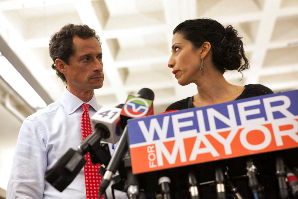 New York mayoral candidate Anthony Weiner and his wife Huma Abedin attend a news conference in New York, July 23, 2013.   REUTERS/Eric Thayer/File Photo     TPX IMAGES OF THE DAY