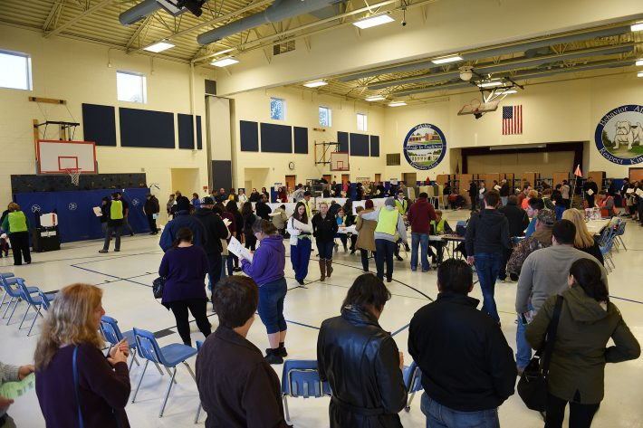 Voters cast their ballots at Yorkshire Elementary School in Manassas, Va., on November 8, 2016. Manassas is part of Prince William County, which has large Latino and white Trump-supporters voting groups. MUST CREDIT: Photo by Astrid Riecken for The Washington Post.