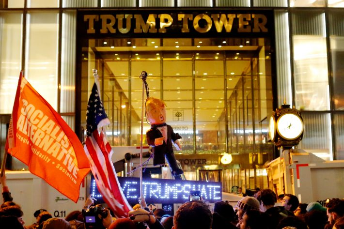 Protesters reach Trump Tower as they march against Republican president-elect Donald Trump in the neighborhood of Manhattan in New York, U.S., November 9, 2016. REUTERS/Eduardo Munoz