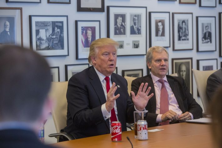 President-elect Donald Trump during a meeting with Arthur Sulzberger Jr., right, publisher of the New York Times, along with reporters, editors and columnists from the paper, at the Times building in New York, Nov. 22, 2016. (Hiroko Masuike/The New York Times)