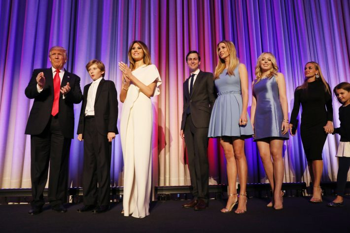 President-elect Donald Trump on stage with his family to celebrate winning the election, around 3 a.m. in New York, Nov. 9, 2016. Trump said that he had received a phone call of congratulations from Hillary Clinton. (Damon Winter/The New York Times)