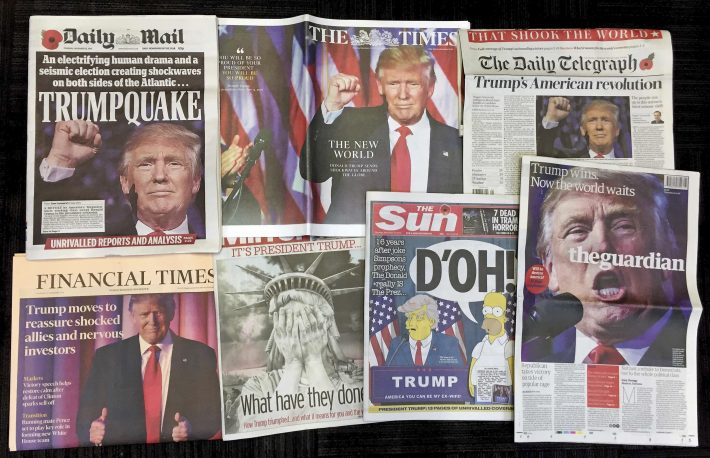 A montage of British newspaper front pages reporting on President-elect Donald Trump winning the American election are displayed in London, Thursday, Nov. 10, 2016. (AP Photo/Tony Hicks)