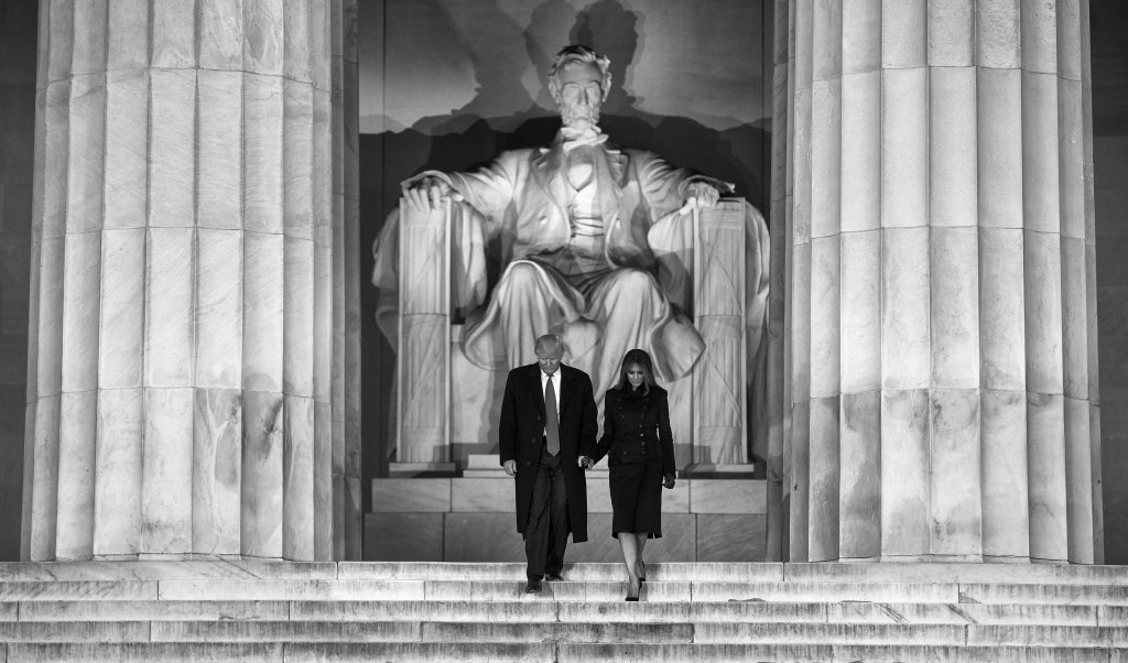 **EDS:  REFILE OF TRUMP INAUGURATION 54 SENT JAN.19, 2017 TO PROVIDE BLACK-AND-WHITE TONING**  President-elect Donald Trump and his wife, Melania, descend the steps of the Lincoln Memorial to a welcome concert on the day before his inauguration in Washington, Jan. 19, 2017. (Doug Mills/The New York Times)