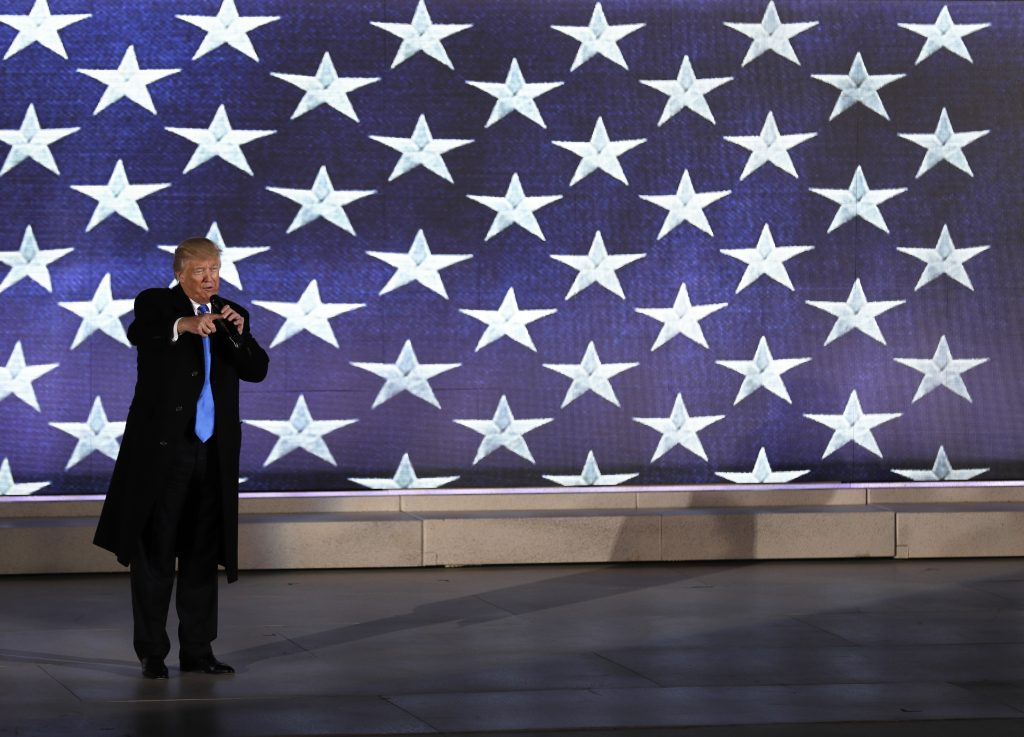President-elect Donald Trump speaks at a pre-Inaugural