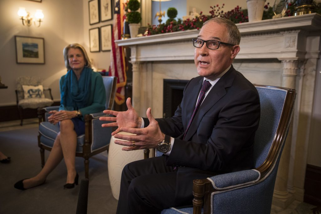 FILE -- Scott Pruitt, Donald TrumpÕs nominee to serve as head of the Environmental Protection Agency, visits Sen. Shelley Capito (R-W.Va) at her office in Washington, Jan. 4, 2017. As the attorney general of Oklahoma, PruittÕs antipathy for federal regulation in many ways defined his tenure, frequently suing to block regulations that he would now be expected to enforce if confirmed. (Doug Mills/The New York Times)