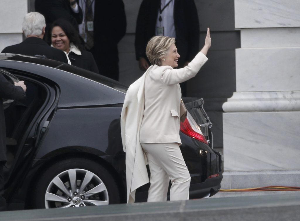 Former Democratic presidential candidate Hillary Clinton arrives at the presidential inauguration of President-elect Donald Trump at the U.S. Capitol in Washington, U.S., January 20, 2017. REUTERS/Mike Segar