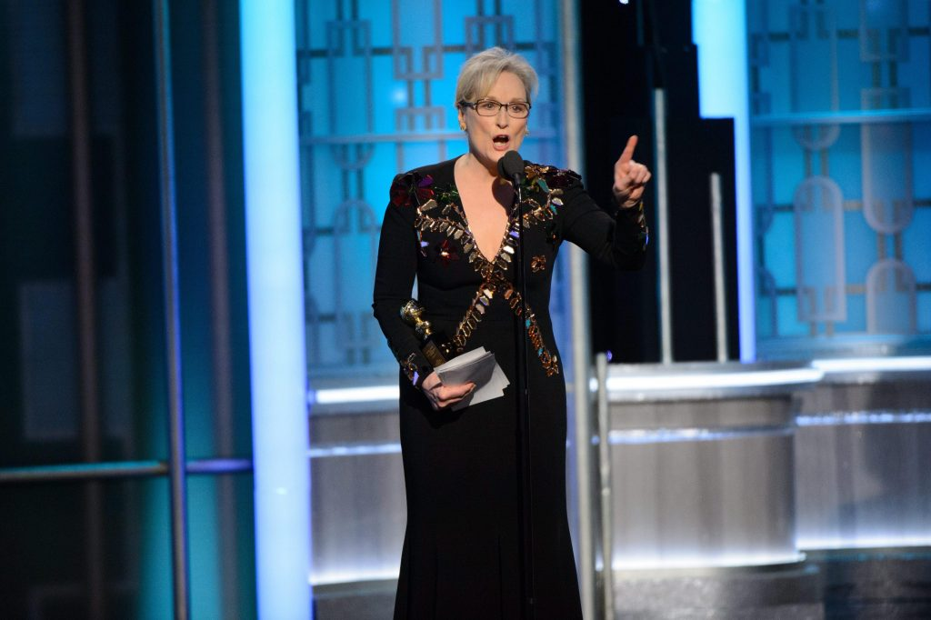 HFPA100. Beverly Hills (United States), 09/01/2017.- A handout photo made available by the Hollywood Foreign Press Association (HFPA) on 09 January 2017 shows Meryl Streep accepting the Cecil B. DeMille Lifetime Achievement Award during the 74th annual Golden Globe Awards ceremony at the Beverly Hilton Hotel in Beverly Hills, California, USA, 08 January 2017. (Estados Unidos) EFE/EPA/HFPA / HANDOUT ATTENTION EDITORS: IMAGE MAY ONLY BE USED UNALTERED +++ MANDATORY CREDIT ++ HANDOUT EDITORIAL USE ONLY/NO SALES/NO ARCHIVES