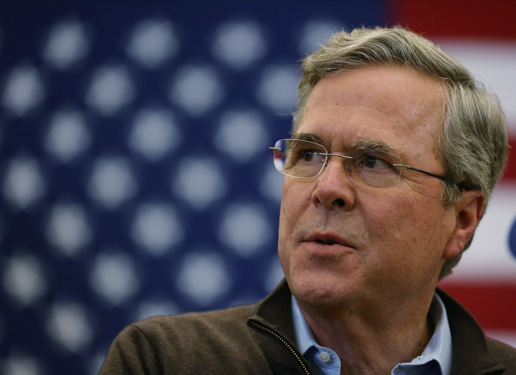 CONCORD, NH - FEBRUARY 05: Republican presidential candidate former Florida Governor Jeb Bush speaks as he campaigns during a town hall at the Abbot-Downing school on February 5, 2016 in Concord, New Hampshire. Democratic and Republican presidential candidates are stumping for votes throughout New Hampshire leading up to the Presidential primary on February 9. Joe Raedle/Getty Images/AFP == FOR NEWSPAPERS, INTERNET, TELCOS & TELEVISION USE ONLY ==