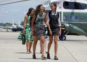 Sasha (L) and Malia Obama, the daughters of U.S. President Barack Obama and U.S. First Lady Michelle Obama walk to Air Force One at Joint Base Andrews, Maryland, U.S., June 17, 2016.      REUTERS/Joshua Roberts     TPX IMAGES OF THE DAY