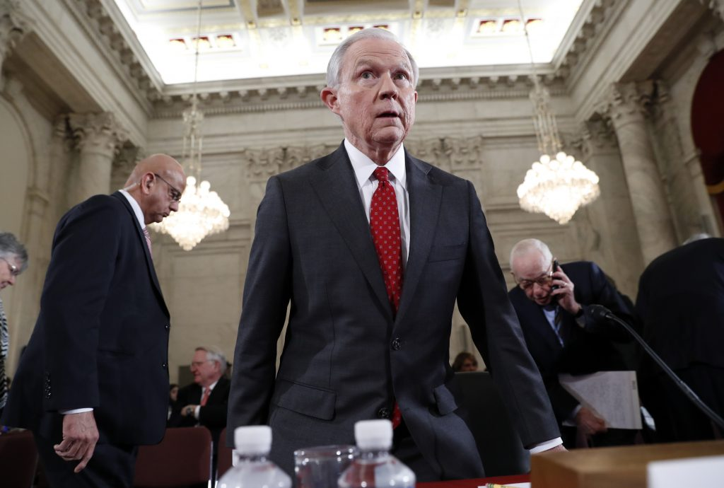 Attorney General-designate, Sen. Jeff Sessions, R-Ala., takes his seat on Capitol Hill in Washington, Tuesday, Jan. 10, 2017, after a break in his confirmation hearing before the Senate Judiciary Committee. (AP Photo/Alex Brandon)