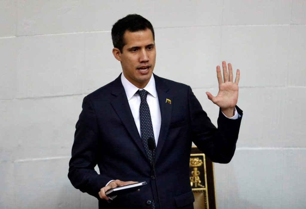 Juan Guaido, President of the Venezuelan National Assembly and lawmaker of the opposition party Popular Will (Voluntad Popular), gestures while he arrives to a gathering in La Guaira, Venezuela January 13, 2019. REUTERS/Carlos Garcia Rawlins
